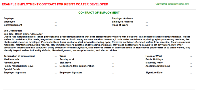 Resist Coater developer Employment Contract Template