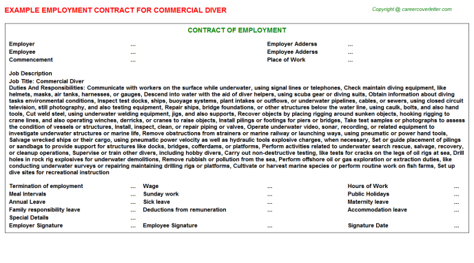 Commercial Diver Employment Contract Template