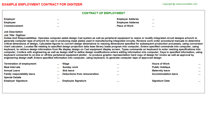 Digitizer Employment Contract Template