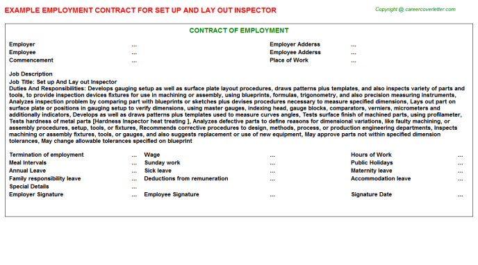 Set Up And Lay Out Inspector Employment Contract Template