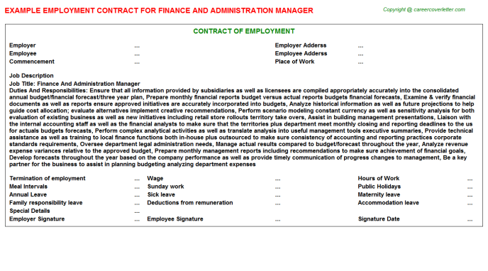 finance and administration manager employment contract template