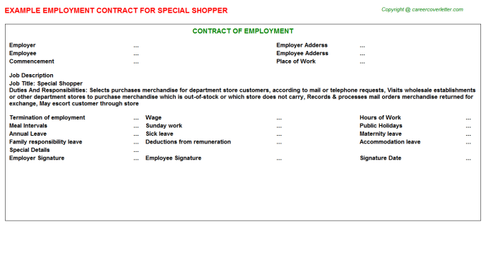 Special Shopper Job Employment Contract Template