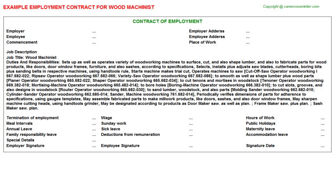 wood machinist employment contract template