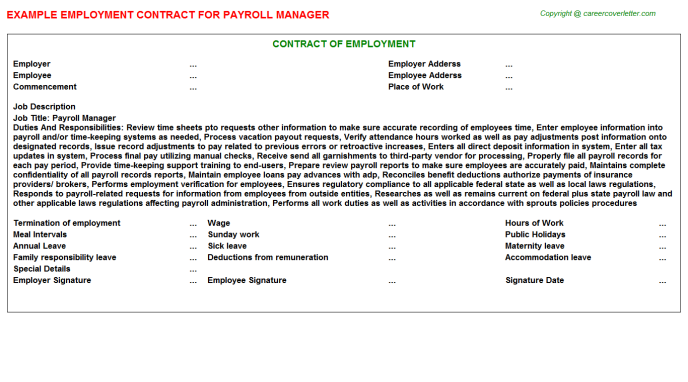 Payroll Manager Employment Contract Template