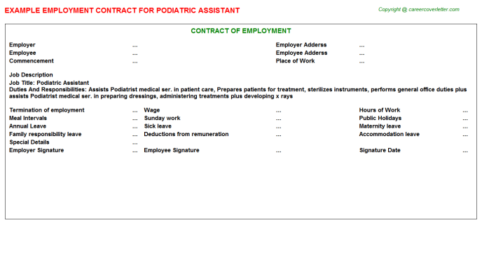 Podiatric Assistant Employment Contract Template