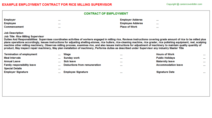 rice milling supervisor employment contract template