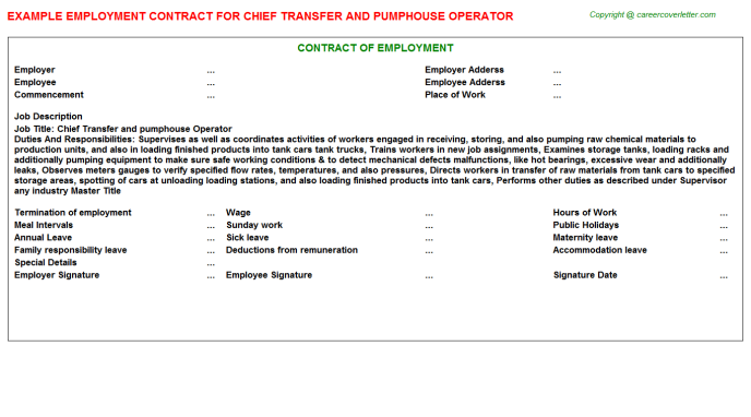 Chief Transfer and pumphouse Operator Employment Contract Template