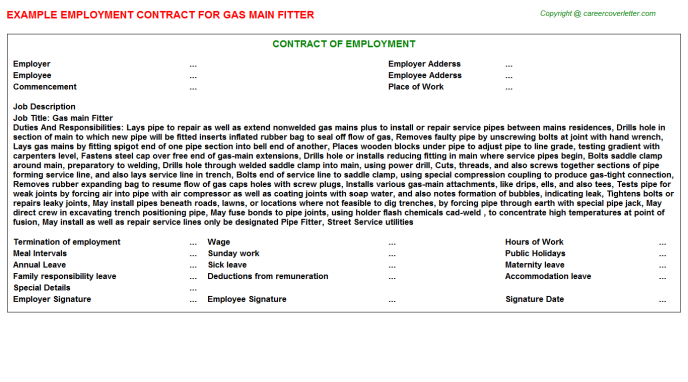 Gas main Fitter Employment Contract Template