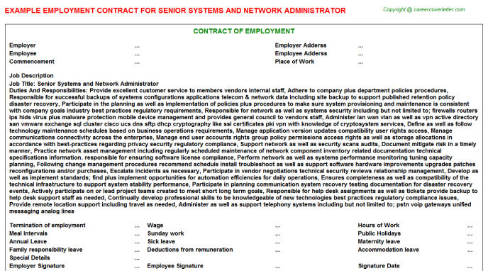 senior systems and network administrator employment contract template