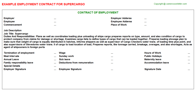 Supercargo Employment Contract Template