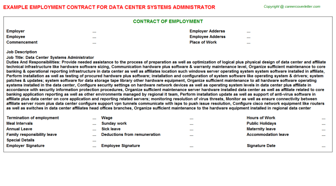 Data center systems administrator job employment contract (#25629)