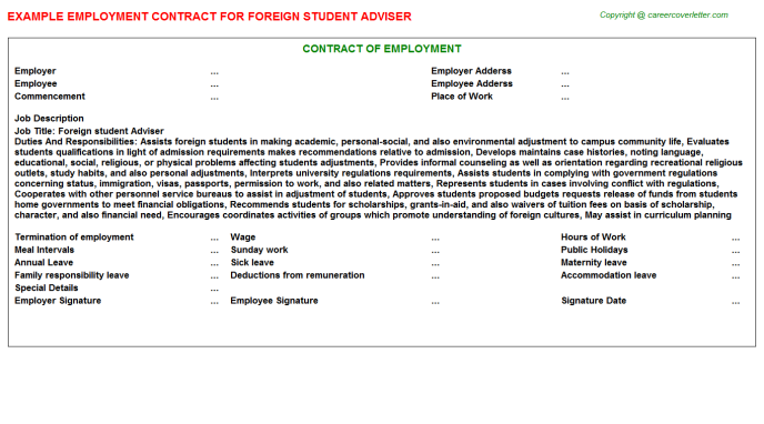 Foreign student Adviser Employment Contract Template