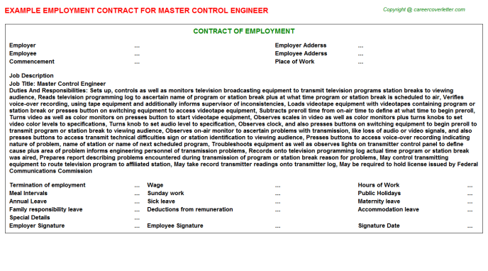 master control engineer employment contract template