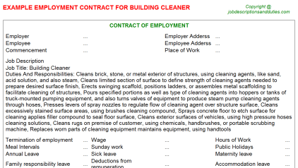 Building Cleaner Job Employment Contract Template