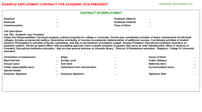 Academic Vice President Employment Contract Template