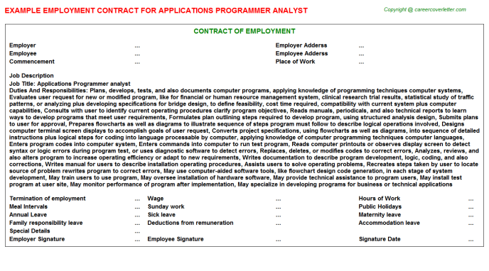 applications programmer analyst employment contract template