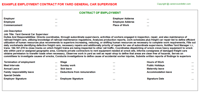 Yard General Car Supervisor Job Employment Contract Template