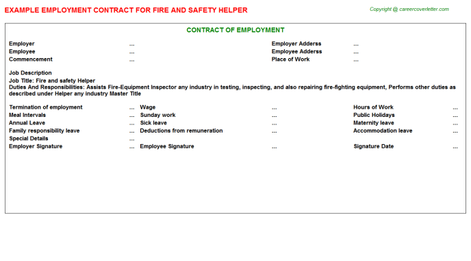 Fire And Safety Helper Employment Contract Template