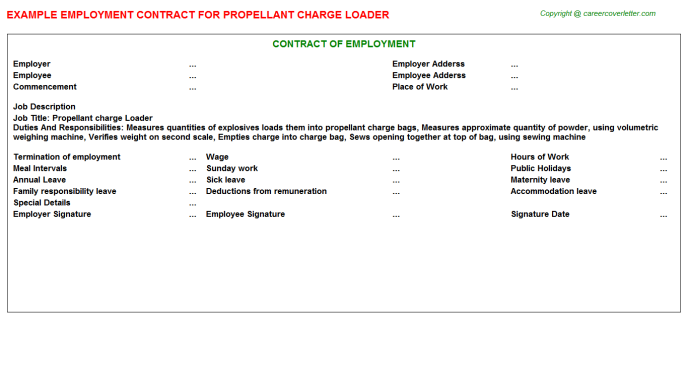 Propellant charge Loader Employment Contract Template