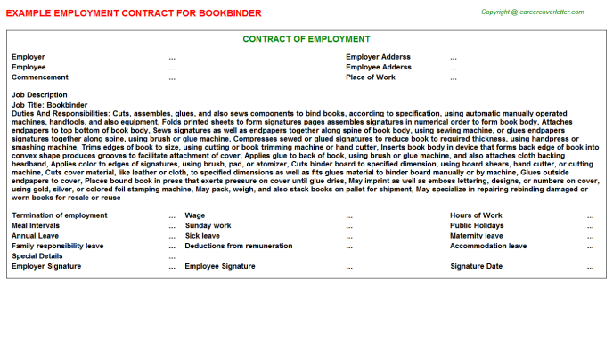 Bookbinder Job Employment Contract Template