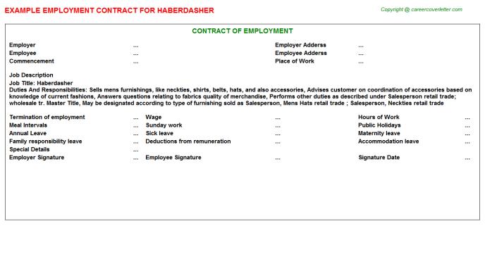 Haberdasher Employment Contract Template