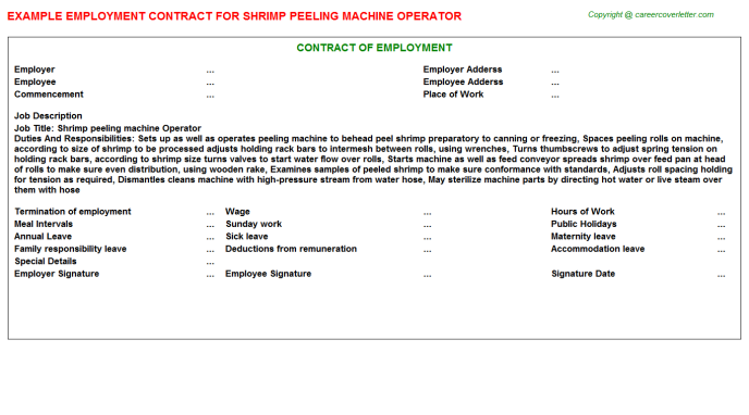 shrimp peeling machine operator employment contract template