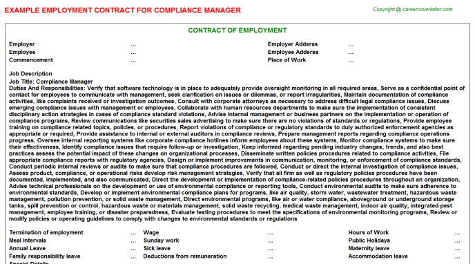 Compliance Manager Employment Contract Template