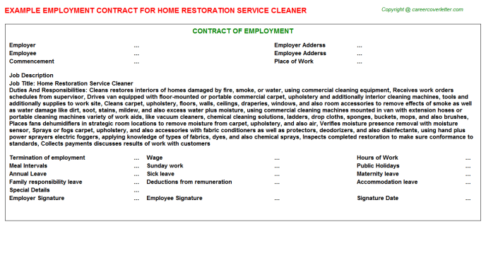 Home restoration service cleaner job employment contract (#6135)