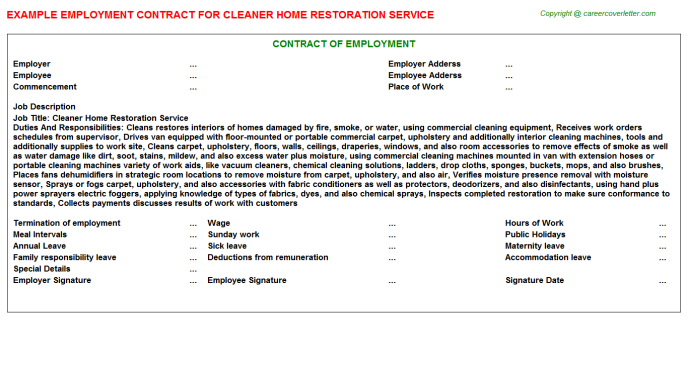 Cleaner home restoration service job employment contract (#6136)