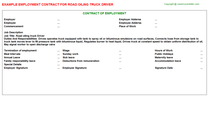 Road Oiling Truck Driver Job Contract Template
