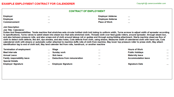 Calenderer Employment Contract Template