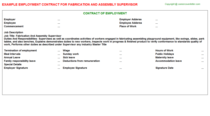 Fabrication And Assembly Supervisor Employment Contract Template