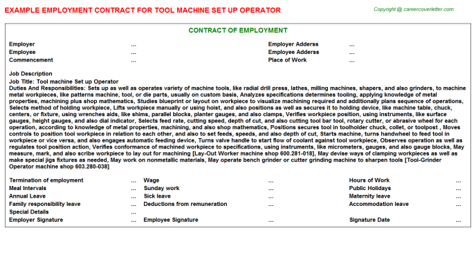 Tool Machine Set Up Operator Employment Contract Template