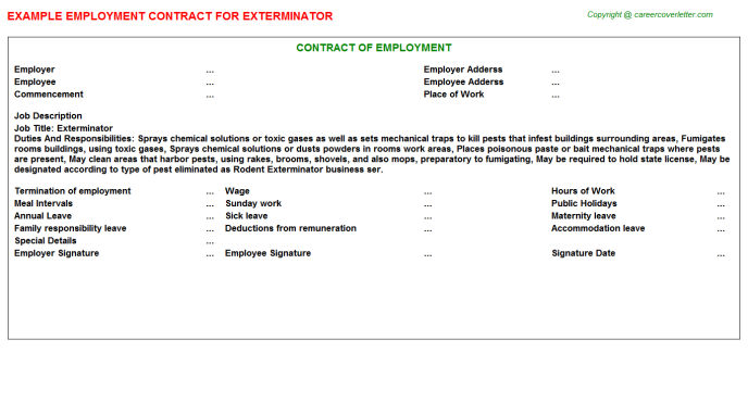 Exterminator Employment Contract Template