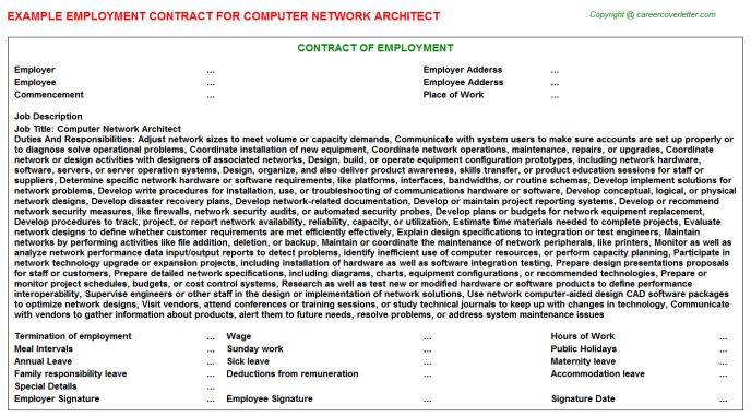 computer network architect employment contract template