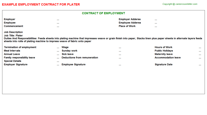 Plater Job Employment Contract Template