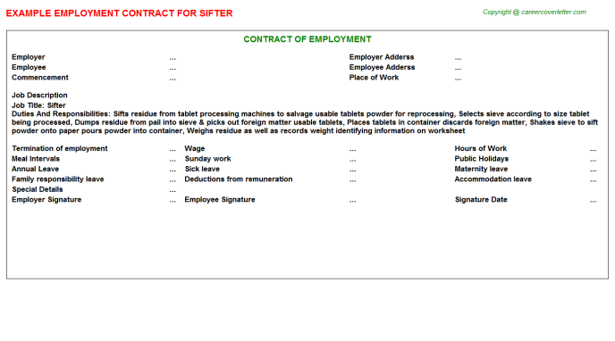 Sifter Employment Contract Template