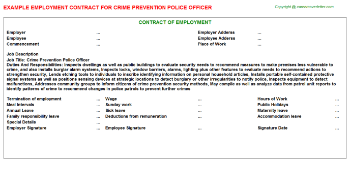 Crime Prevention Police Officer Employment Contract Template