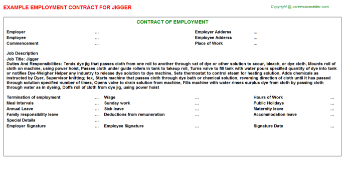 Jigger Employment Contract Template