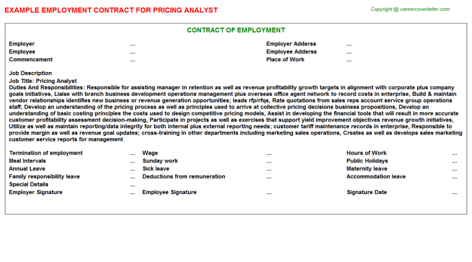 Pricing Analyst Employment Contract Template