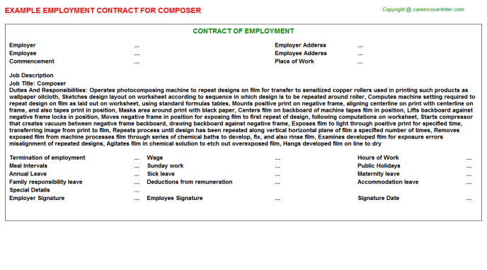 Composer Employment Contract Template