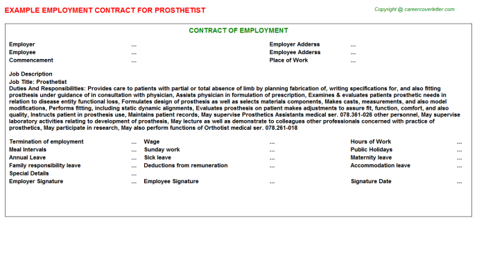 Prosthetist Job Employment Contract Template
