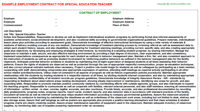 Special Education Teacher Employment Contract Template