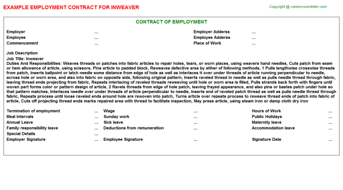 Inweaver Employment Contract Template