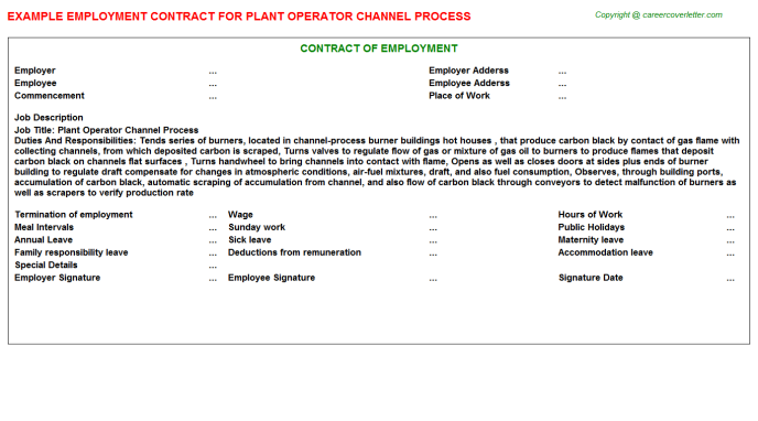 Plant Operator Channel Process Job Contract Template