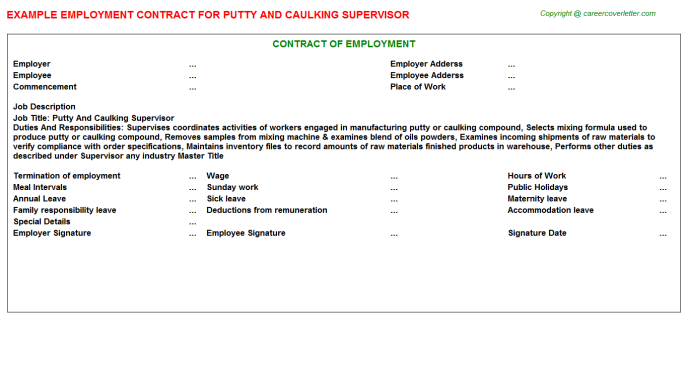 Putty And Caulking Supervisor Employment Contract Template