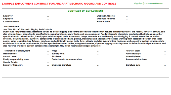 Aircraft Mechanic Rigging And Controls Employment Contract Template