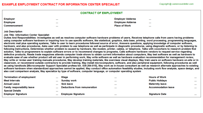 Information Center Specialist Employment Contract Template