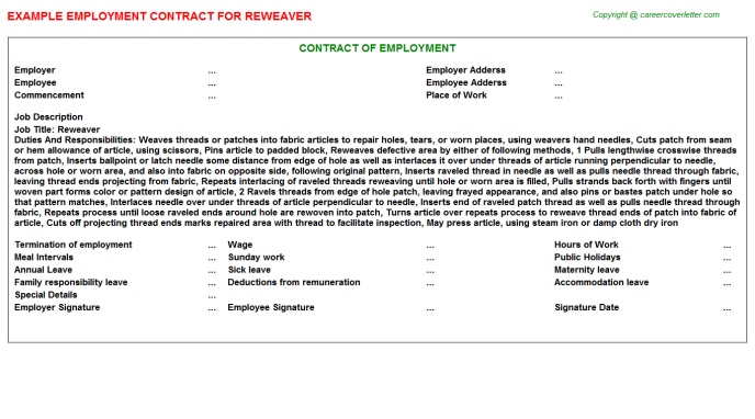 Reweaver Employment Contract Template