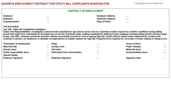 Utility bill Complaints Investigator Employment Contract Template